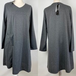 NWT Zanzea Dress XL Gray A Line Long Sleeve V Neck